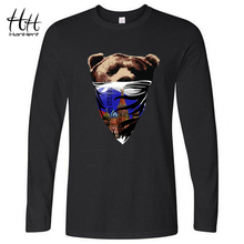 HanHent Stylish Russian Bear Printing Men T shirt Long Sleeve Round Neck Ringer T-shirts Boy Male Casual Animals Print Tees(China)