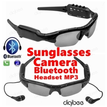 Multi-Function Sunglasses Camera Glasses 480P Digital Video Recorder MP3 Bluetooth Headset with Mic Microphone Mini Camera DV(China)