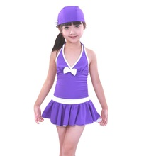 Free Shipping 2017 Solid Polyester Kids Girls Swimwear Swimsuit Swimming Girl Style Summer Children one piece bathing suit dress(China)