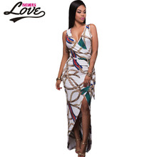 Dearlove sexy Mermaid Evening Gown Long Party 2017 Elegant dress Sleeveless Chic Chain Print High Split Maxi Boho Dress LC61533