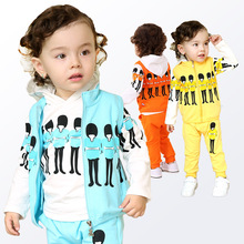 Anlencool Direct Selling Free Shipping Newborn Kids New Models British Three-piece Suit Baby Clothing Personalized Clothes Set(China)