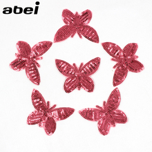 10pcs/lot Wholesale Top Pink Butterfly Patches Iron on Sequined Appliques Girls Sweater T-Shirt Jeans Apparel Sticker DIY