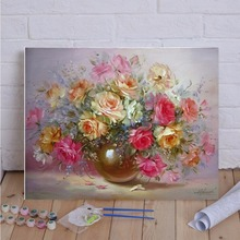 40x50cm Frameless Oil Painting Flowers Picture On Wall Paint By Numbers Drawing Artistic Gift Display Hand Painted Hot Sale