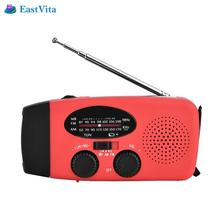 EastVita Protable Solar Radio Hand Crank Self Powered Phone Charger 3 LED Flashlight FM/AM/NOAA Weather Radio Receiver(China)
