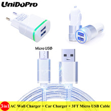 3in1 , US/EU Plug AC Wall & Car Charger + 3FT Micro USB Cable for Huawei Honor Holly 3+, Y7 Prime, Nova Lite+ , Y7 , GR5 2017(China)