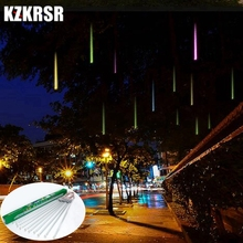 KZKRSR Waterproof 20m 30cm 50cm Led Meteor Shower Rain Light 8 Pcs Tubes AC110V AC220V Wedding Xmas EU / US Falling Raindrop(China)