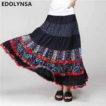 2017 Skirts Womens Saia Longa Cotton Linen Casual Printed Patchwork Vintage Maxi Pleated Skirt Bohemia Beach Long Skirt(China)