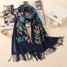 2017 designer quality embroidery cashmere scarves vintage winter women scarf long size shawls and wraps lady soft warmer foulard(China)