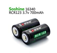 2PCS Soshine RCR123 cell 700mAh battery Rechargeable 16340 Li-ion bateria with protective box Free shipping