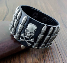Punk Hip Hop Skull Bullet Black Wide Leather Wrist Belt Cuff Bracelet  YT02