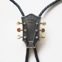 Jeansfriend Original Western Country Music Guitar Bolo Tie Neck Tie Wedding Leather Necklace(China)
