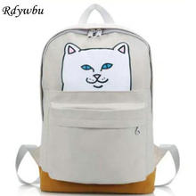 Rdywbu Women's Canvas Backpack Street Personality Cheap Cat Printed Backpack Casual High School Student Travel Bag Rucksack H145(China)
