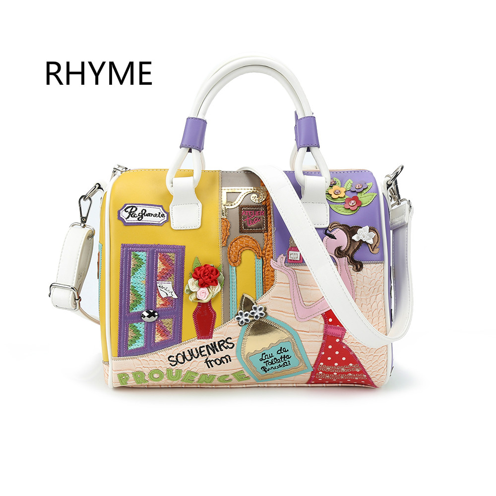 RHYME Women Appliques Handbag Braccialini Style Shoulder Bag Di Marca Bolsa Feminina Luxury Top-Handbags Famous Brand Tote<br>
