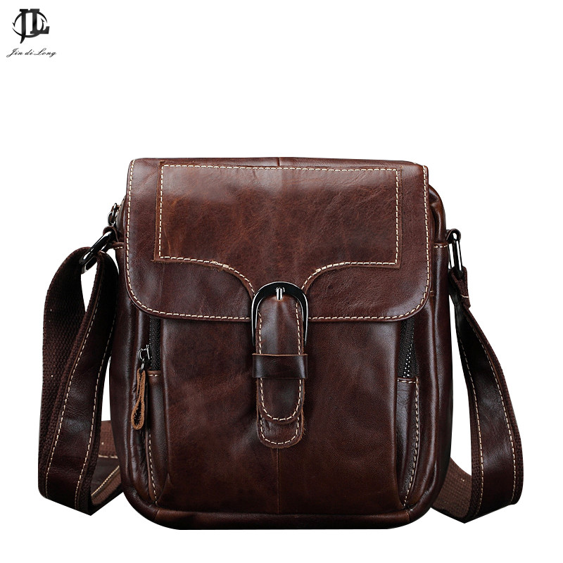 Brand New Vintage Oil Waxed Genuine Leather Mens Messenger  Crossbody Shoulder Bag Travel Phone Organizer Zipper Bags<br><br>Aliexpress