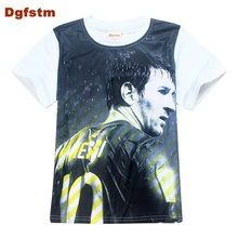 DGFSTM Messi T Shirt 2017 Summer Fashion 3D Print Lionel Messi Short Sleeve T-shirts Cheap Clothes White Kid T-Shirts Cotton Tee