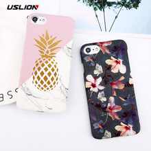 USLION Flower Leaf Painting Phone Case For iPhone 6 6S Plus Slim Hard PC Cases Marble Pineapple Cover For iphone 6 Plus Coque