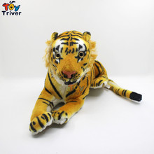 Creative 3D simulation Soft Plush Yellow White Tiger Stuffed Doll Animal Baby Kids Friend Birthday Gift Home Shop Decor Triver
