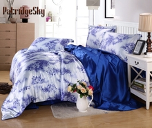 3/4PC Faux Silk Chinese Blue White Porcelain Luxury Bedding Set Duvet Cover Set Bed Cover Queen King 1.5m 1.8m 2.0m width Bed