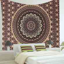 Indian Mandala Polyester Tapestry 200X145cm Bohemian Wall Hanging Bedspread Throw Blanket Home Room Decor Textiles Accessories