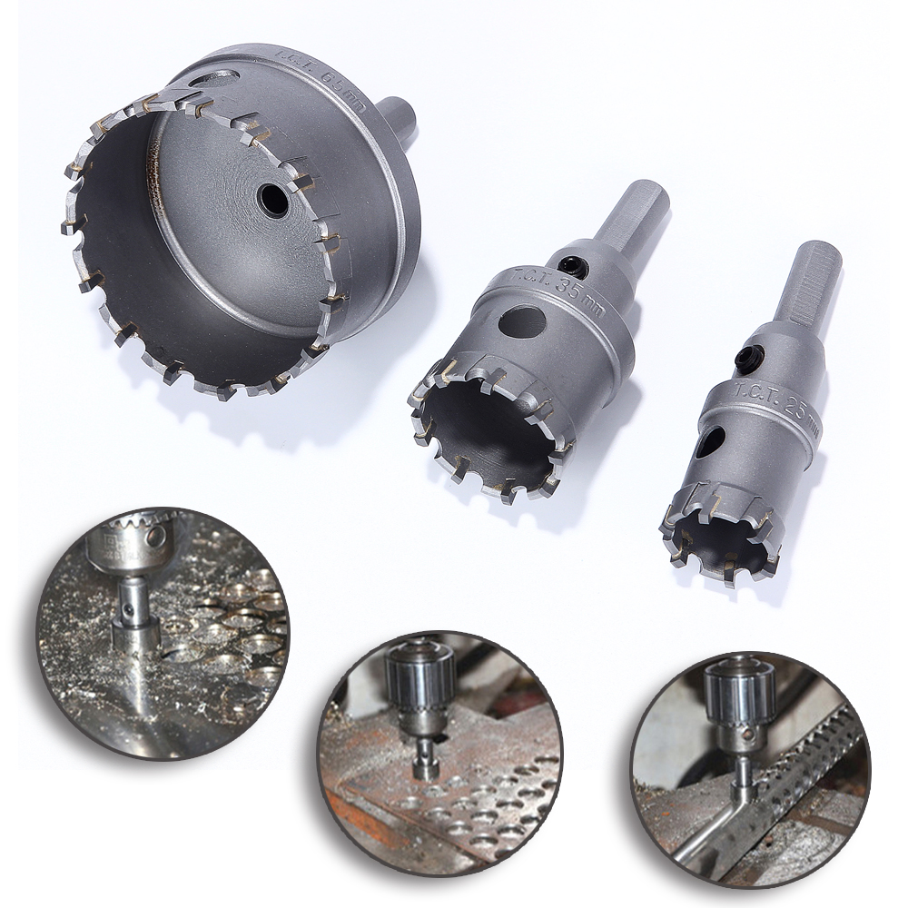 Hakkin 3PCS 25/35/65mm Sharp Hard K10 Alloy Core Drill Bit  Hole Saw Tapper For Metal Drilling Stainless Steel Cemented Carbide<br>