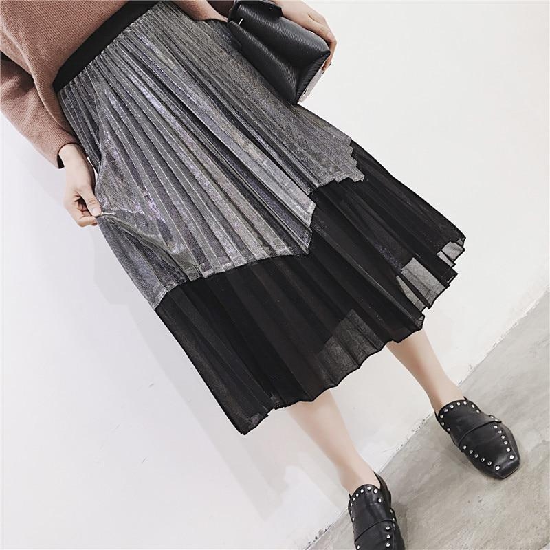 [GUTU] Autumn Summer 2018 Korean New Fashion Patchwork Color Bottoms All-match Elastic Waist Pleated Skirt Loose Women F89201 48