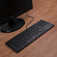 C202B Wired USB Thin Business Keyboard with Touchpad Ultrathin Mute Silent Gold Office Work Multimedia Computer Keyboard(China)