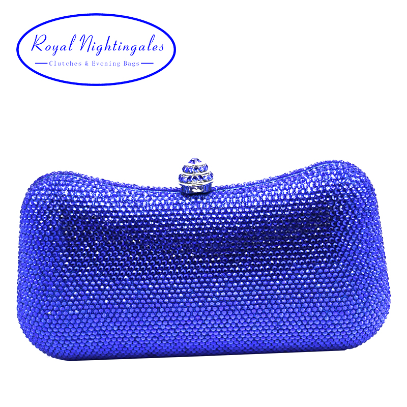 Luxury  royal blue hard case box clutch evening bag crystal clutch bag for womens wedding party evening matching shoes<br>
