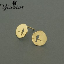 Yiustar New Design Cute Mini  Gold  Silver Rose Gold color Hollow Animal Bird On A Branch Stud Earring for Women for Women ED089