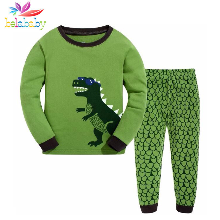 2019 Spring 2PCS Casual Cartoon Boys Girls Clothes Set Cotton O-Neck Dinosaur Children Pajamas Suit Long Sleeve Children Pyjamas