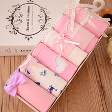 Buy 6pcs/lot Female Cotton Midle-waist Woman Underpants Briefs Lace Girls Underwear Pink Comfortable Teen Panties Bow Girl Cuecas