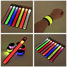 100pcs Nylon LED Sports Slap Wrist Strap Bands Wristband Light Flash Bracelet Glowing Armband Flare Strap Party Concert Armband