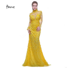 Finove Prom Dress Yellow 2017 High Neck Long Sleeves See Through Back Beading with Flowers Formal Evening Dress Vestido de Festa(China)