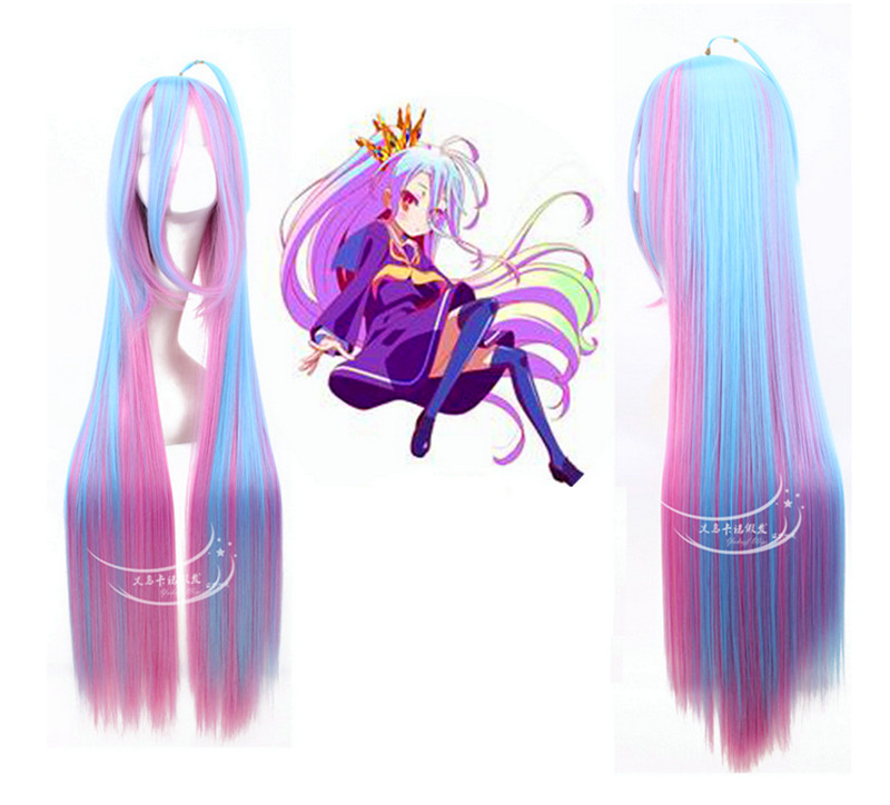New arrival high quality mixed blue pink and red Cosplay Wig No Game No Life cos play 100cm length wigs<br><br>Aliexpress