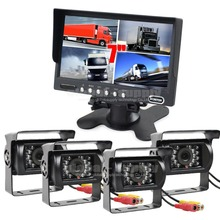 DIYSECUR Truck Horse Rear View Kit 7inch Split QUAD Monitor + 4 x CCD Waterproof IR Night Vision Camera for Monitoring System