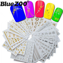 30Pcs/Pack Gold Silver 3D Nail Sticker Mixed Design Metalic Beauty Nail Art Decorations Stickers Manicure Nails Decal DIY Tips(China)