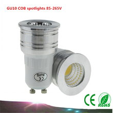 New products GU10 COB spotlights 6W 85-265V dimmable LED bulbs Warm white / white energy saving lamps LED light cups(China)