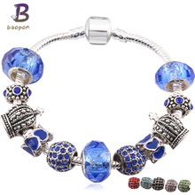BAOPON Silver Plated Charm Bracelet&Bangle with Royal Crown Charm and Crystal Ball White Beads F Bracelet Drop Shipping(China)