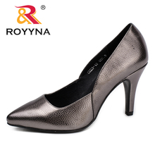 ROYYNA New Elegant Style Women Pumps Metallic Color Clemence Women Dress Shoes Pointed Toe Lady Wedding Shoes Free Shipping(China)