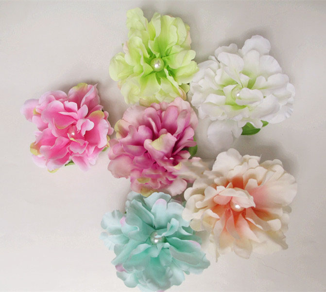 artificial flowers head Simulation pearl flower pin wild peony flower head flower garland without bottom bracket diy accessories(China (Mainland))
