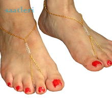 2017 Bohemian Beach Beads Handmade Beaded Anklet Foot Toe Chain Bracelet Beautiful Accessories Girl's cool chain(China)