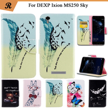 Painted Wallet Flip Case For DEXP Ixion MS250 Sky PU leather Card Slot Stand bag High Quality Cover fundas with Strap