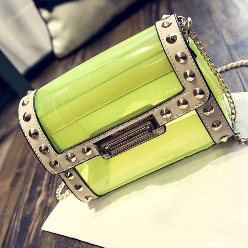 New Arrival Women Messenger Bags Fashion Clear Jelly Shoulder Crossbody Bag PVC Faux Leather Rivet Beach Bag<br><br>Aliexpress