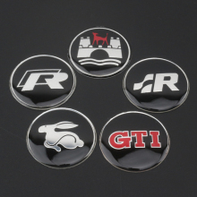 45mm R SR GTI Evil Rabbit Wolfsburg Refitting Logo Thin Aluminium Black Sticker Car Styling Steering Wheel Center Emblem for VW(China)