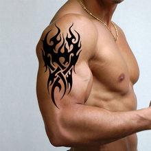 3D Black Armhand Water Transfer Temporary tattoo sticker Cool Fire Flame totem Design Sexy men women body tattoo paper