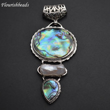 Natural Abalone Shell Paved White Pearl 3 Rows Arrow Shape Pendants(China)