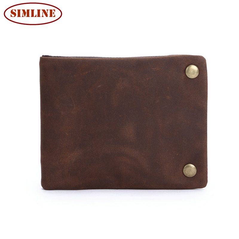 Luxury Brand Vintage 100% Genuine Crazy Horse Leather Cowhide Men Wallet Wallets Coin Purse Card Holder With Zipper Pocket Man<br><br>Aliexpress