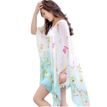 Seaside scarves summer sun wraps women fashion silk veil scarf long section shawl of large beach printed towel female shawl J002