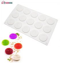 SHENHONG 15 Holes Rotate Cake Decoration Mousse Mold Silicone DIY Mould Baking Moule For Pudding Chocolate Pies Dessert Brownie(China)