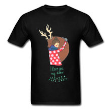Lasting Charm Men Birthday Sports T-shirt I Love You My Deer Tops Cartoon Tshirt Gift Sports T-shirt Lovely Tee Sweatshirt(China)