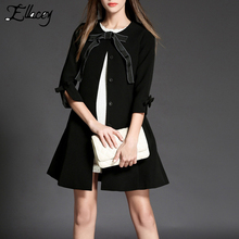 New Arrival 2016 Autumn Winter Trench Coat Lovely Girls Bow Tie Black Women Coat Three Quarter Sleeve Trench Female